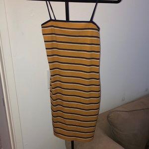 Mustard, navy and white striped dress!
